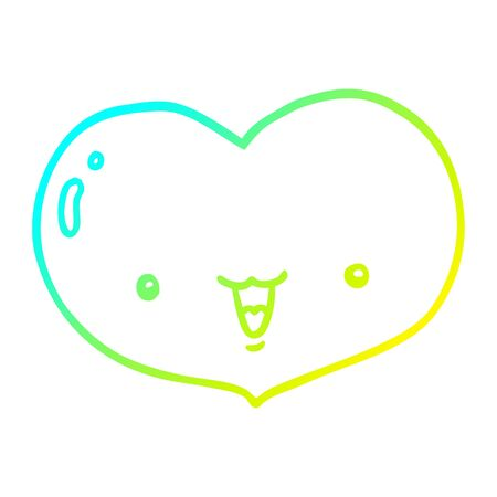 cold gradient line drawing of a cartoon love heart character