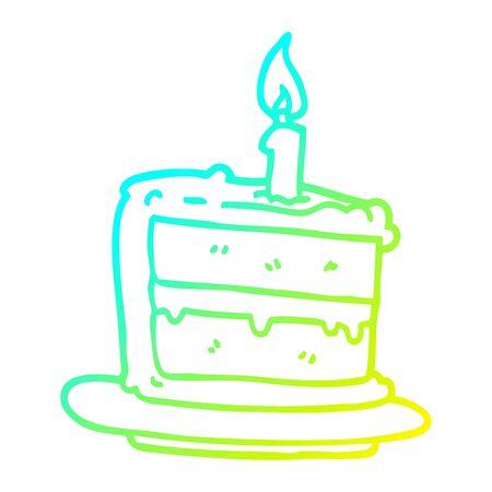 cold gradient line drawing of a cartoon birthday cake Иллюстрация