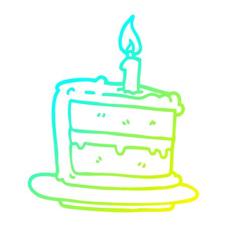 cold gradient line drawing of a cartoon birthday cake Illustration