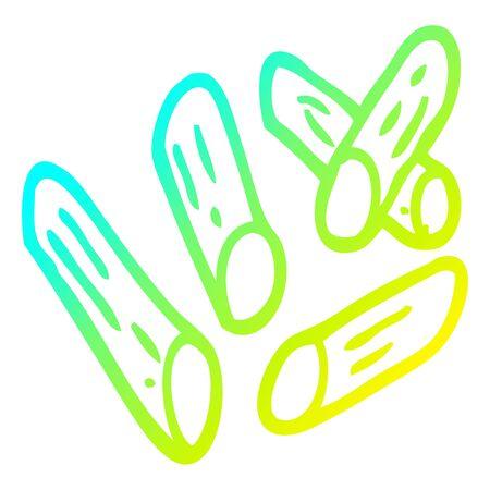 cold gradient line drawing of a cartoon pasta shapes Иллюстрация