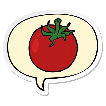 cartoon fresh tomato with speech bubble sticker Иллюстрация