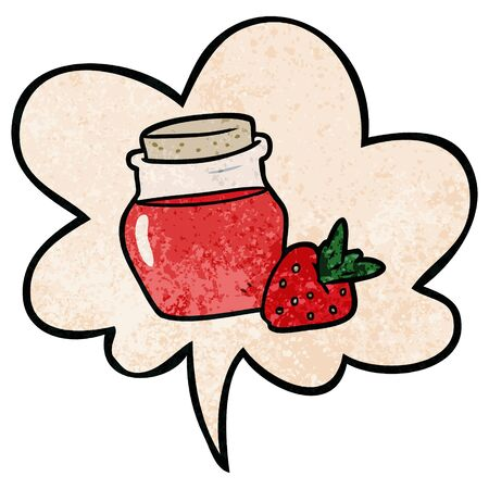cartoon jar of strawberry jam with speech bubble in retro texture style