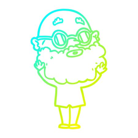 cold gradient line drawing of a cartoon curious man with beard and glasses