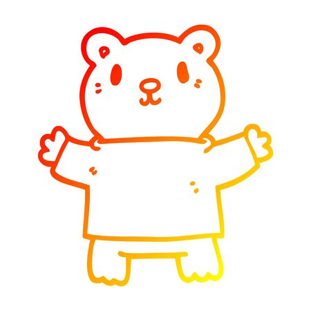 warm gradient line drawing of a cartoon teddy bear