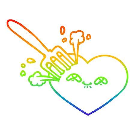 rainbow gradient line drawing of a cartoon love heart stuck with fork