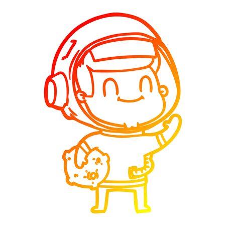 warm gradient line drawing of a happy cartoon astronaut man Ilustracja