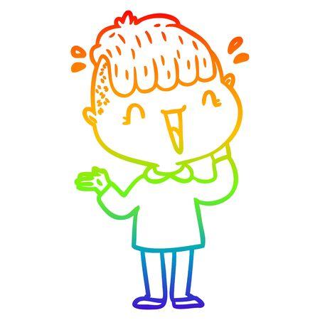 rainbow gradient line drawing of a cartoon happy boy surprised  イラスト・ベクター素材