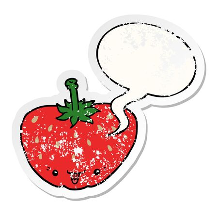 cartoon strawberry with speech bubble distressed distressed old sticker Ilustrace