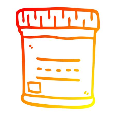 warm gradient line drawing of a cartoon medical sample jar