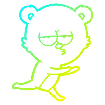 cold gradient line drawing of a bored bear cartoon