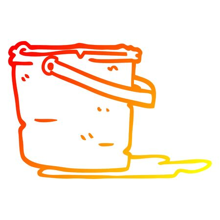 warm gradient line drawing of a cartoon bucket