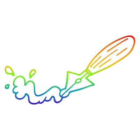 rainbow gradient line drawing of a cartoon fountain pen Reklamní fotografie - 129278223