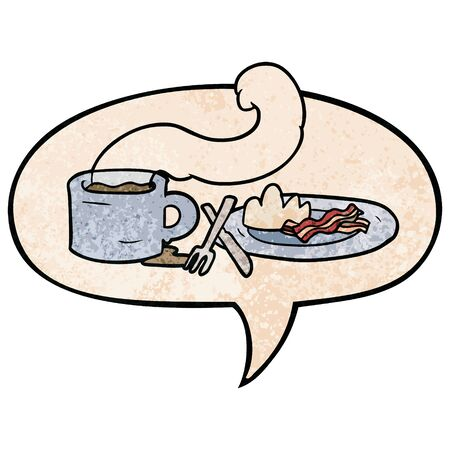 cartoon breakfast of coffee and bacon with speech bubble in retro texture style 向量圖像