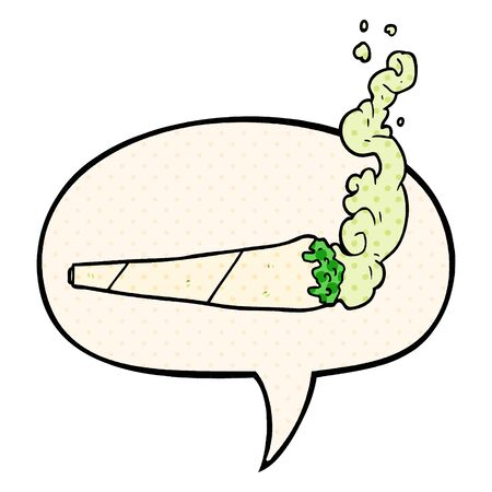 cartoon marijuiana joint with speech bubble in comic book style