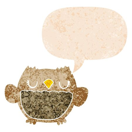 cartoon owl with speech bubble in grunge distressed retro textured style