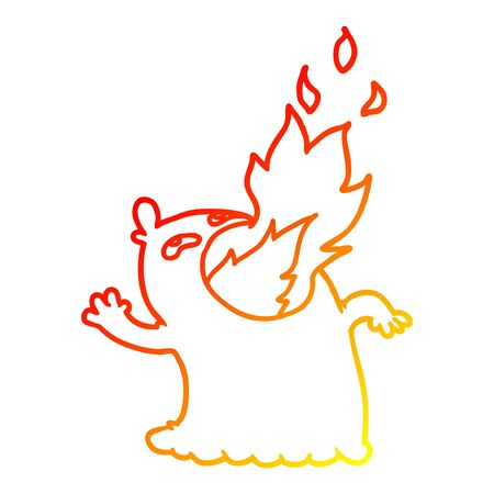warm gradient line drawing of a cartoon fire breathing ghost
