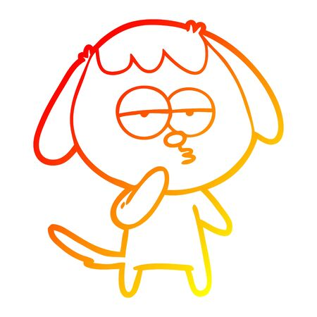 warm gradient line drawing of a cartoon tired dog