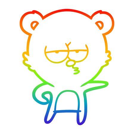 rainbow gradient line drawing of a bored bear cartoon