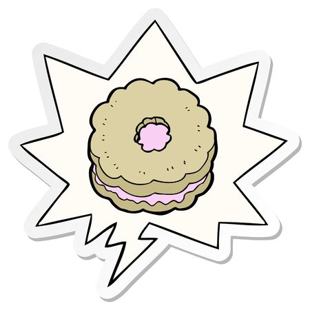 cartoon biscuit with speech bubble sticker