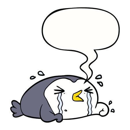 cartoon crying penguin with speech bubble