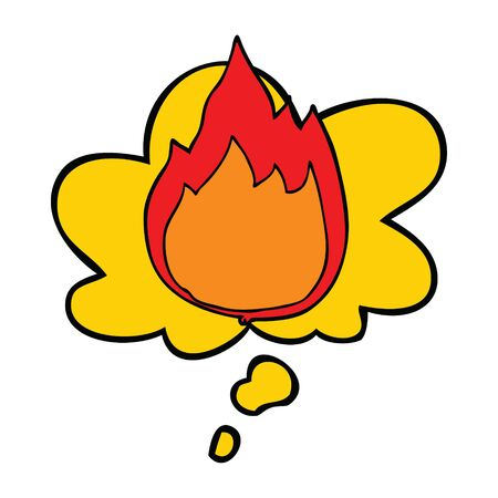 cartoon fire with thought bubble