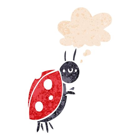 cartoon ladybug with thought bubble in grunge distressed retro textured style