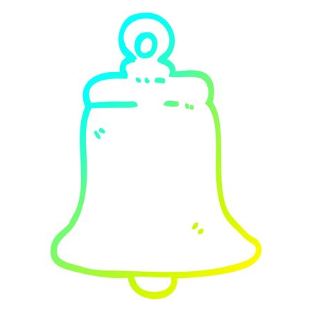 cold gradient line drawing of a cartoon ringing bell  イラスト・ベクター素材