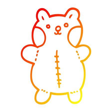 warm gradient line drawing of a cartoon teddy bear Фото со стока - 129278300