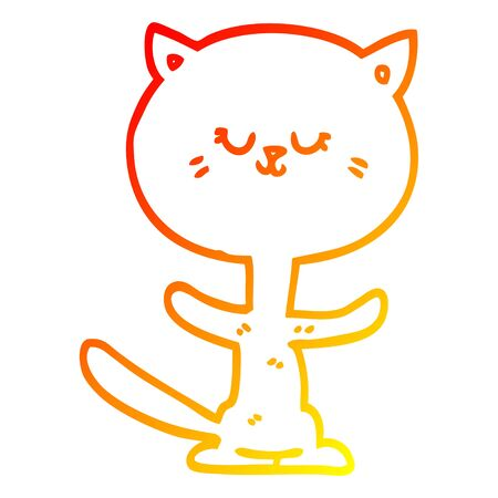 warm gradient line drawing of a cartoon dancing cat Illustration