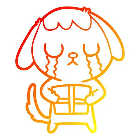 warm gradient line drawing of a cute cartoon dog with christmas present  イラスト・ベクター素材