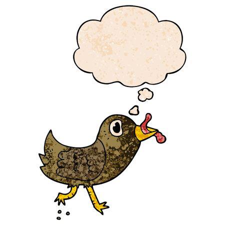 pájaro de dibujos animados con gusano con globo en estilo de textura grunge