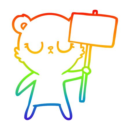rainbow gradient line drawing of a peaceful cartoon bear cub with protest sign