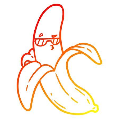 warm gradient line drawing of a cartoon banana Stock Vector - 129278352