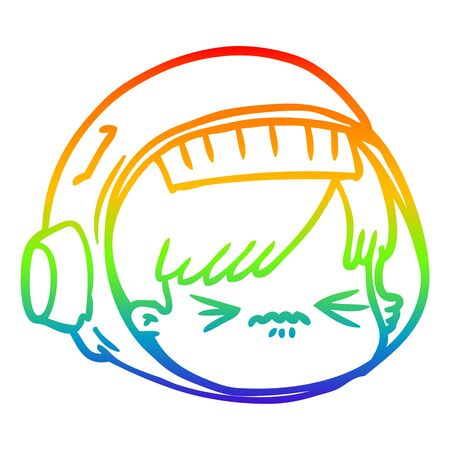 rainbow gradient line drawing of a cartoon stressed astronaut face