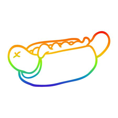 rainbow gradient line drawing of a fresh tasty hot dog  イラスト・ベクター素材