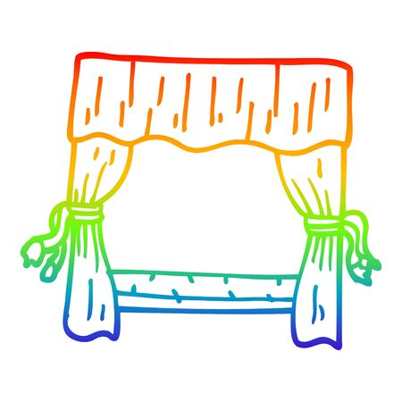 rainbow gradient line drawing of a cartoon window with curtains
