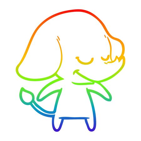 rainbow gradient line drawing of a cartoon smiling elephant