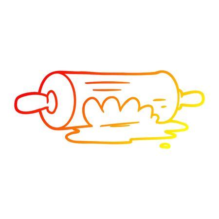 warm gradient line drawing of a cartoon rolling pin