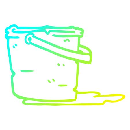 cold gradient line drawing of a cartoon bucket Ilustração