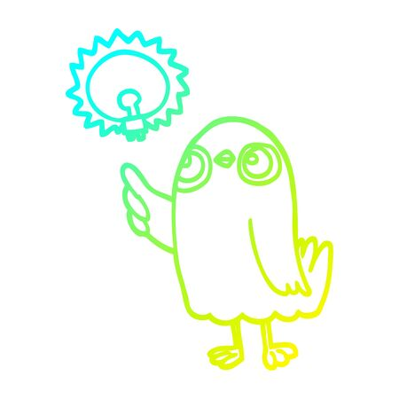 cold gradient line drawing of a cartoon bird with great idea Ilustração