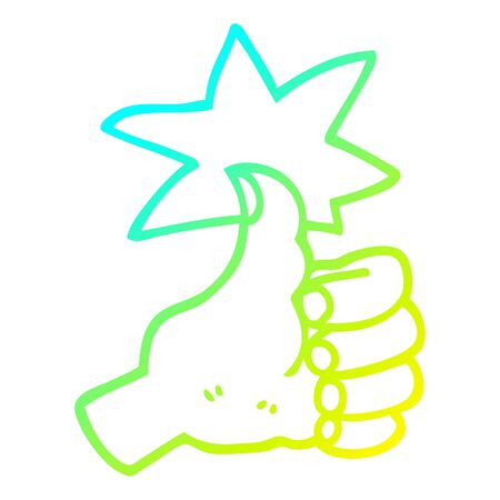cold gradient line drawing of a cartoon thumbs up symbol