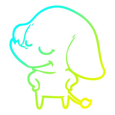 cold gradient line drawing of a cartoon smiling elephant