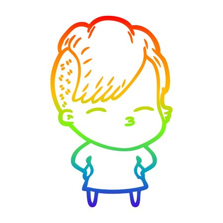 rainbow gradient line drawing of a cartoon squinting girl Illustration