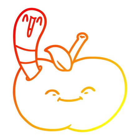 warm gradient line drawing of a cartoon happy worm in an apple Illustration
