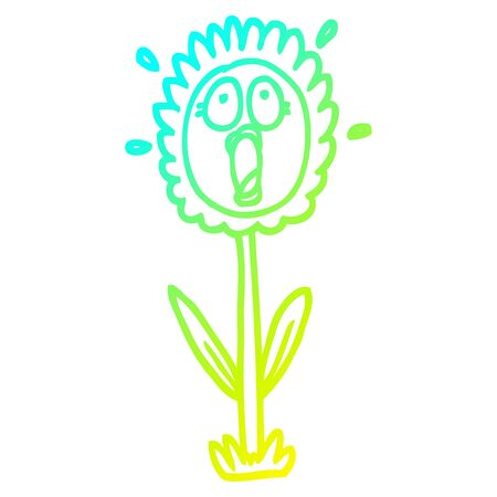 cold gradient line drawing of a cartoon shocked sunflower