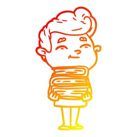 warm gradient line drawing of a happy cartoon man with stack of new books