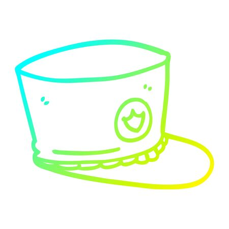 cold gradient line drawing of a cartoon official hat Ilustracja