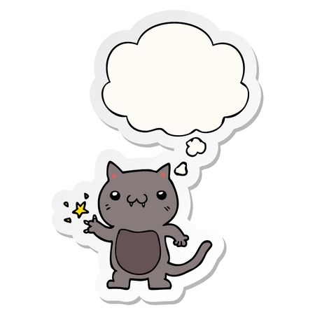 cartoon cat scratching with thought bubble as a printed sticker