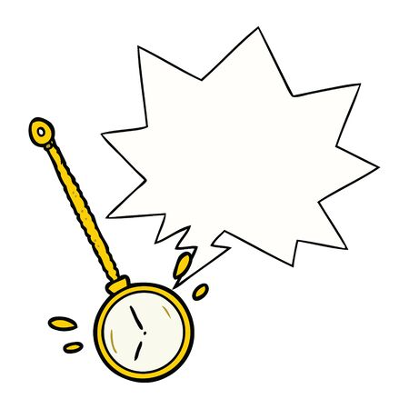 cartoon swinging gold hypnotist watch with speech bubble