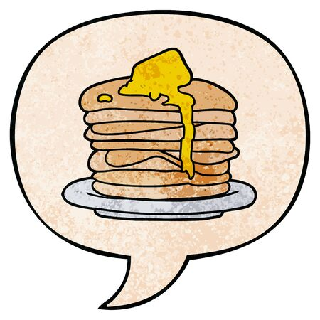 cartoon stack of pancakes with speech bubble in retro texture style Banco de Imagens - 129278846